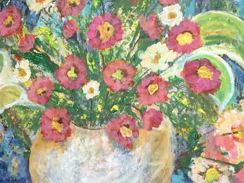 De la serie lo femenino resurgiendo 1.20 x 2 Acrílico sobre papel de tule hecho a mano